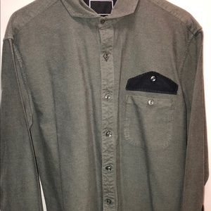 Army Green two tone Black Long-Sleeve polo